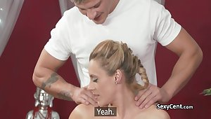 Milf got massage and pussy creampie