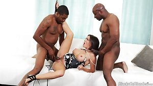 Crazy triad for the busty milf with two black thugs