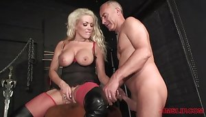 Blonde milf loves be passed on older man's dick in their way ass