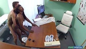 Naked ebony filmed in secret during hard sex upon her physician