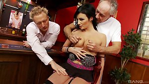 Busty MILF gets busy with two men and fucks unconfirmed exhaustion