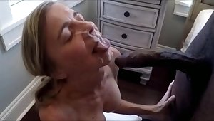 Older wife is pretty a big facial of a black bull