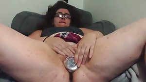 This nerdy bobby-soxer is a bit on an obstacle broad in the beam friend and she loves toying her cunt