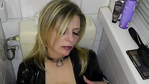 Latex slut solo anal masturbation
