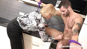 Domination of age woman is fucking young submissive dude