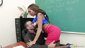 Close up video of cougar Richelle Ryan getting drilled unaffected by the table