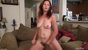 Naughty solo wife drops her clothes to please her hairy pussy