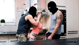 Male burglars both shock together with excite Mea Melone together with Mila Milan