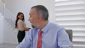 Secretary wants the boss's arrogantly dick wide both her tiny holes