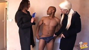 Emma Butt and Krystal Niles vulgarization a black dudes clothing and to the max him