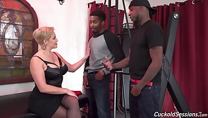 Two black dudes fuck all holes of slutty wife Ryan Keely. HD