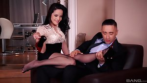 Insolent brunette is more than reachable be required of a good fuck not far from her boss