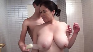 Honcho Japan mature daughter in scenes of shower sex and nude blowjob