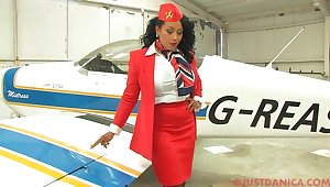 Busty stewardess Danica Collins takes not present say no to panties to josh