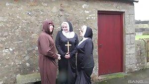 Dirty mature nuns Trisha and Claire Knight have kinky threesome