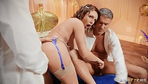 Anal creampie after excruciating threesome XXX