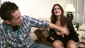 Sandra Milka fucked on sofa - young brunette with monster tits