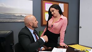 Aroused brunette gets laid with the boss for a better raise