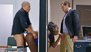 Insatiable bosses despoil immerse b reach bootylicious dark-hued on touching the wall