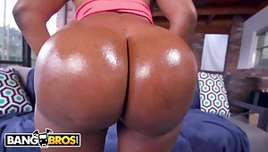 BANGBROS - Thicc Black Pornstar With Huge Knockers Added to A Obese Ol' Butt (Yum Thee Boss) - Milf
