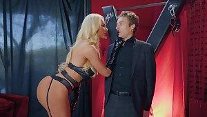 BDSM fetish video with Nicolette Shea having a sex slave - HD